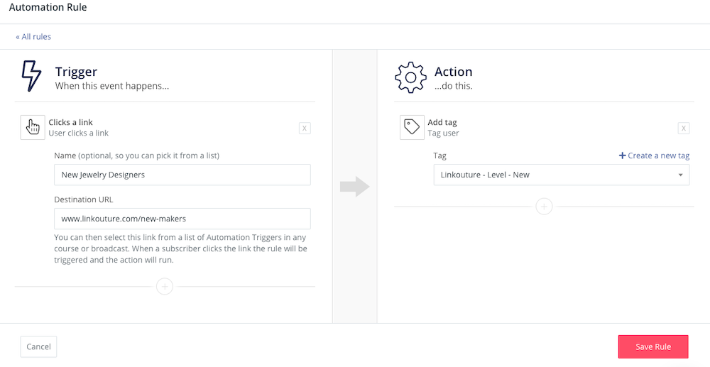 Screenshot of ConvertKit choosing a tag for a link trigger