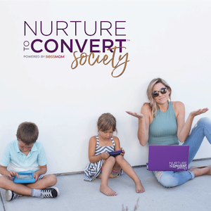 """Image of mom with two kids and overlap that says """"Nurture to convert socity"""""""