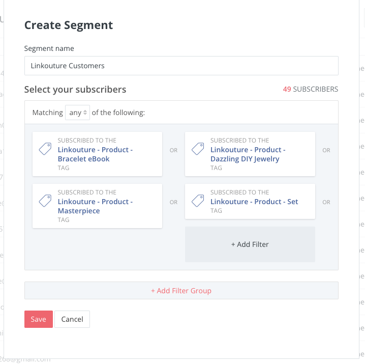 Image of a pop-up with words Create Segment at top, below that Segment Name and the description Linkouture Customers with a variety of ConvertKit tags selected