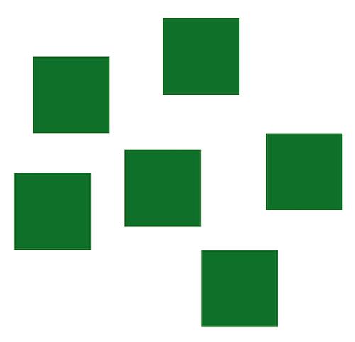 six green squares