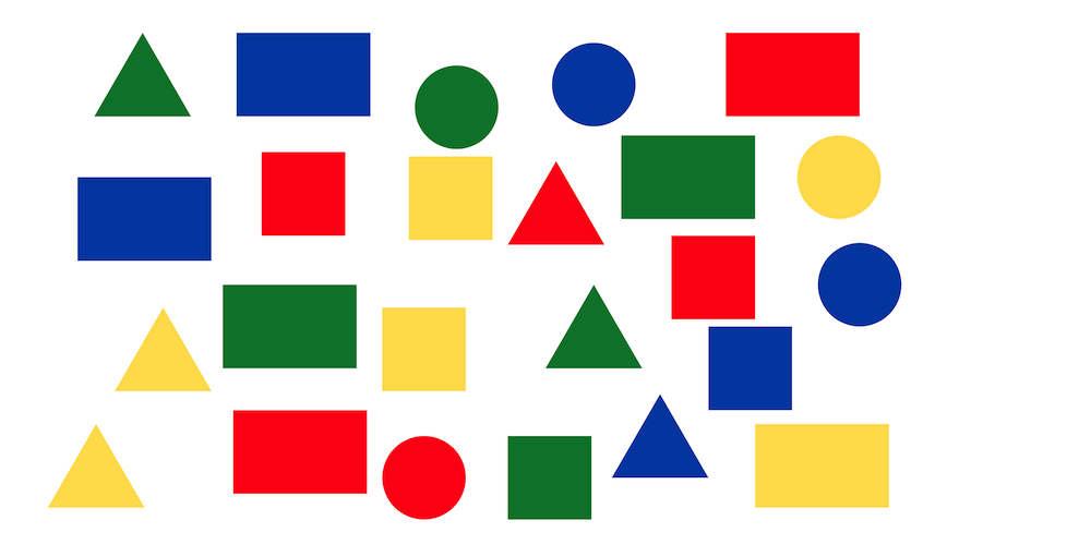 mix of squares, rectangles, circles, and triangles in a variety of colors